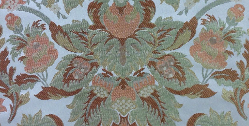 Green and Tangerine Silk Floral