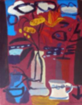Gerard Collins_Still Life Vase_oil on ca