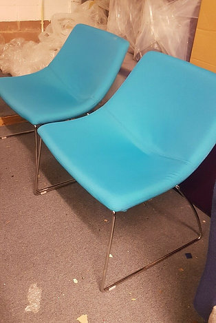 Pair Of Blue Luna Office Reception Chairs . One pair available