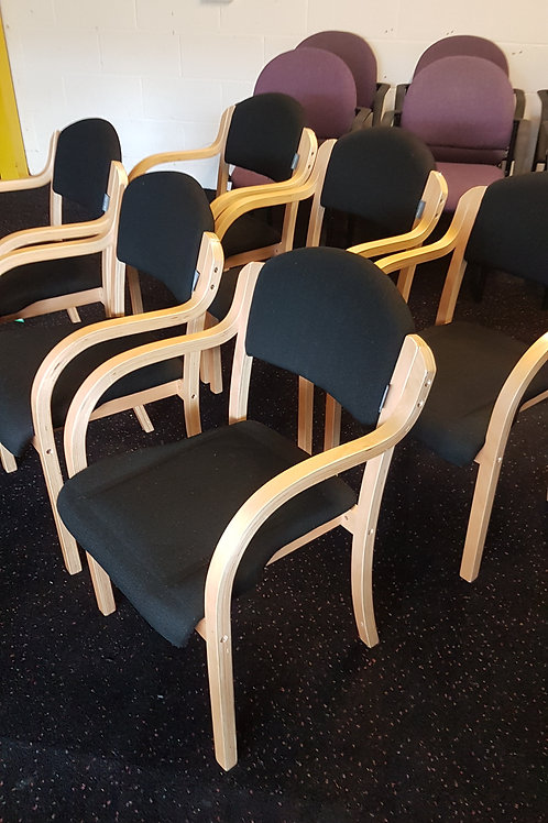 Lovely Black and Wood Effect Office Stacking Chairs