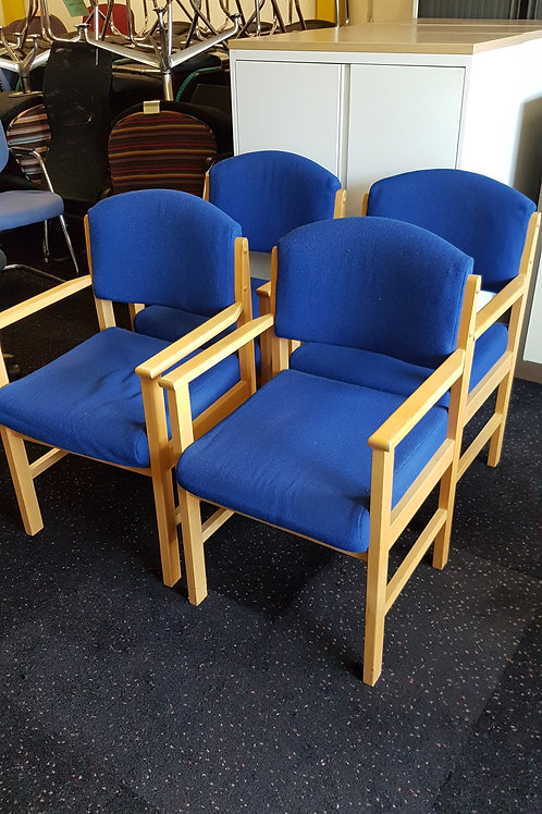 Wood and Fabric Blue Office Reception Chairs