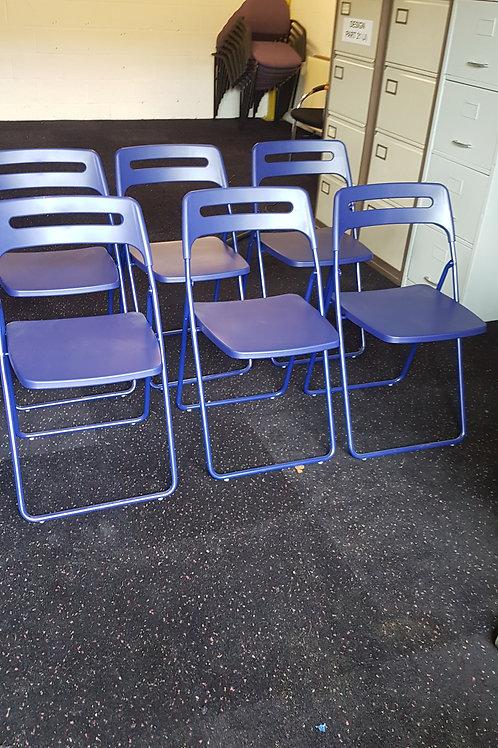 Ikea,Nisse Folding Plastic Chairs in Blue