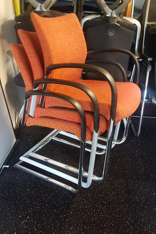 Set of 3 Orange Stacking Chairs by Senator