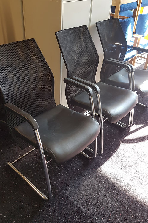 Black Faux Leather Mesh Back Office Meeting Chairs by Vector