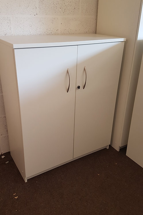 Lovely White Wood Effect lockable office cupboards 1200mm high 8 available