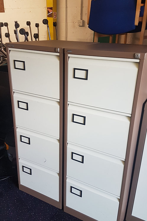 Coffee and Cream metal 4 Drawer Filing Cabinets