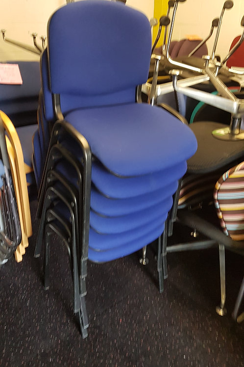 Classic Blue Office Stacking Chairs With Black Metal Legs