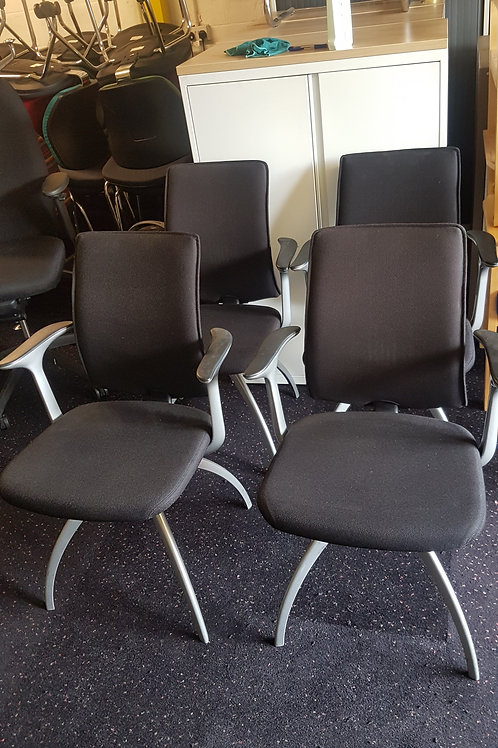 Black Office Visitor Chairs by Hag. Top Quality chairs with and without arms
