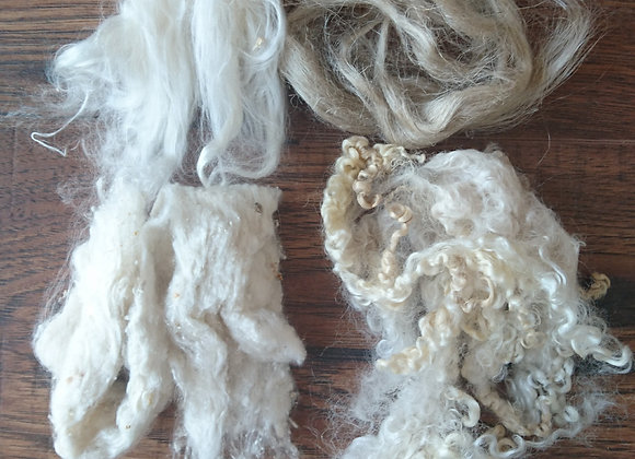 Earth blends - mystery box, fibre pack, 100g of natural fibres to inspire your c