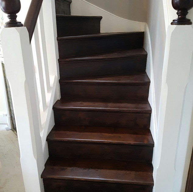 Staircase stripped, stained and painted