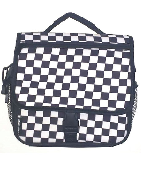 Checkered Print Messenger Lunch Bag