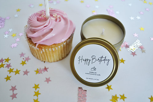 HAPPY BIRTHDAY | Birthday Cake 3-oz travel tin candle | Natural Soy Candle