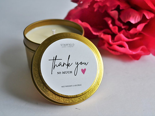 THANK YOU candle | Thank you so much 3-oz Travel Tin candle| Natural Soy Candle