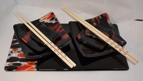 Black Sushi Set for 2