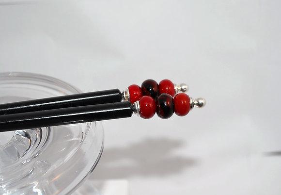 Chopsticks/Hair Pins - Black/Red