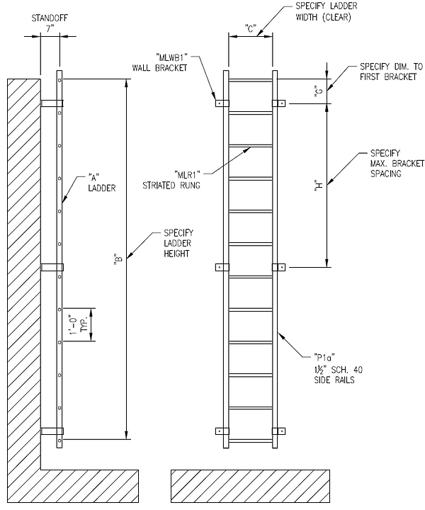 Wall Mounted Mechanical Ladder Drawing p