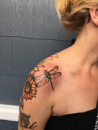 Dragonfly Tattoo Sunflower Sleeve