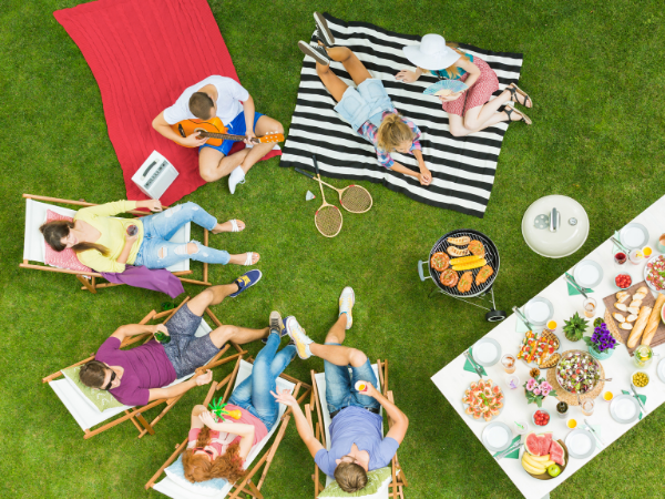 High-traffic lawn - summer barbecue