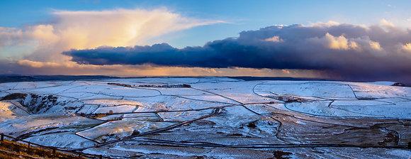 Snow fields under under a storm