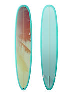 Bright blue surfboard with palm trees