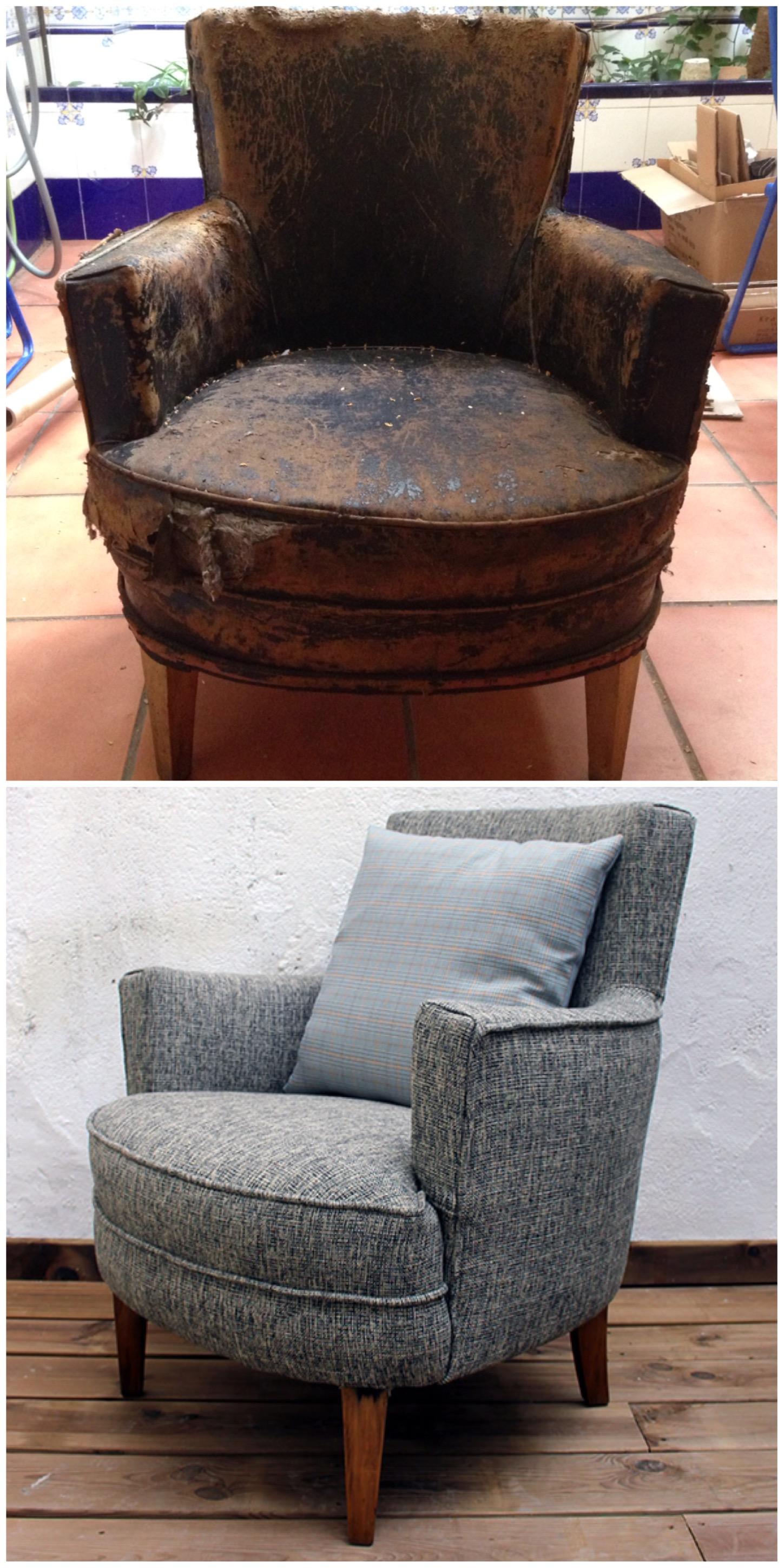 Butaca restaurada y tapizada