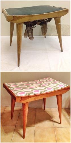 Taburete restaurado y tapizado
