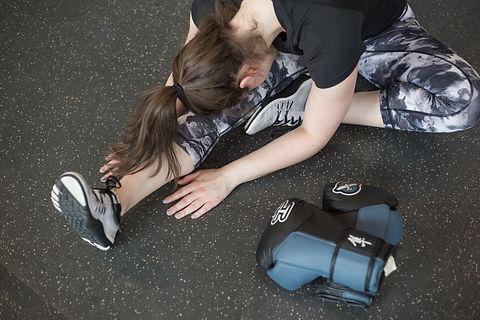 Sporty Woman Stretching hamstring stretch
