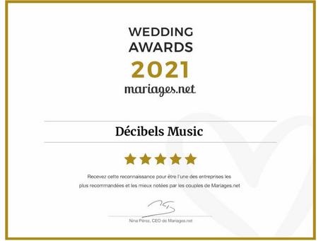 Décibels Music obtient le Wedding Awards de Mariages.net