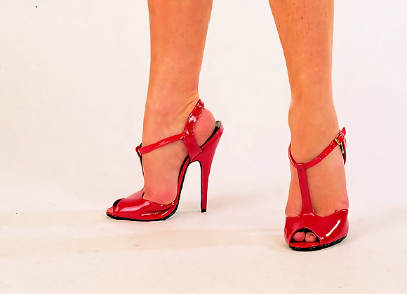 Red Patent Peep Toe Sandals