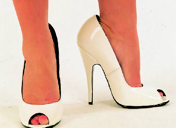 White Patent Peep-Toe Court Shoes