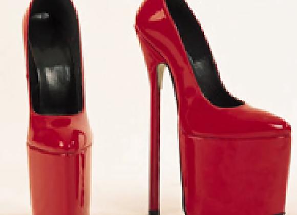 Red Patent Platform Stiletto Heel Court Shoes