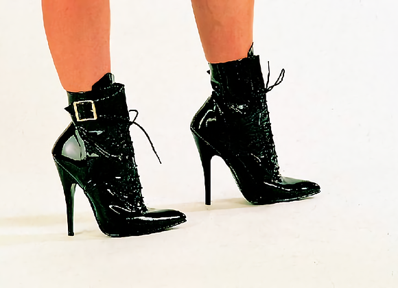 Black Patent Buckle Boots