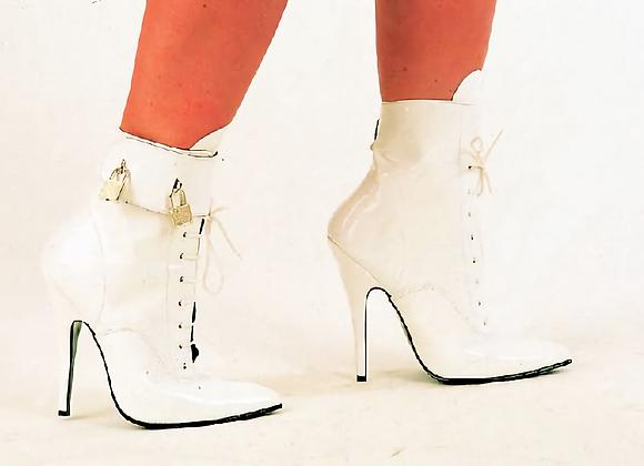 White Patent Padlock Boots