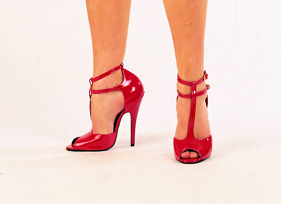 Red Patent Double T-Bar Sandals