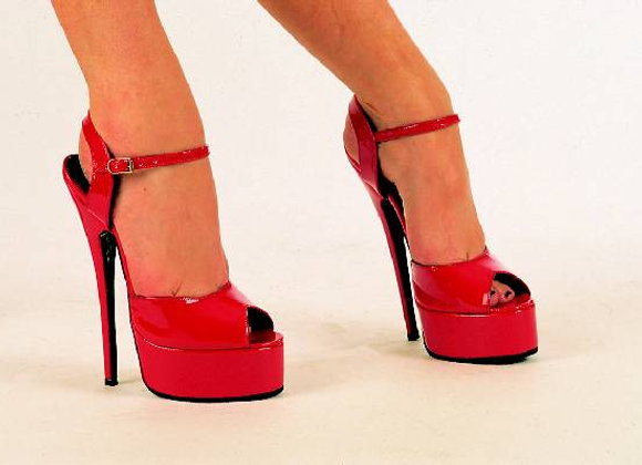 Red Patent Platform Peep-toe Sandals