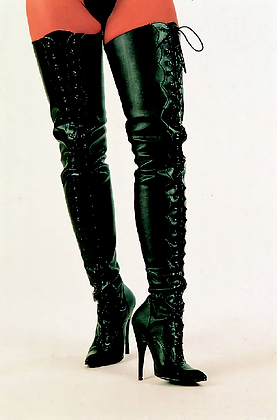 Matte Black Thigh-high Scallop Leather Boots