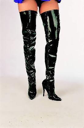 Black Patent Thigh-high Boots