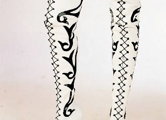 """""""Berger"""" Style Black and White Boots."""