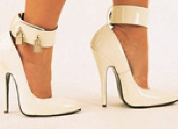 White Patent Padlock Court Shoes
