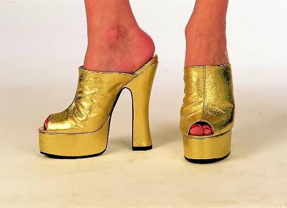 Metallic Leather Peep-toe Mules