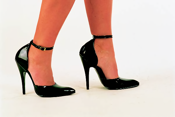 Black Patent Sandals with Ankle Strap