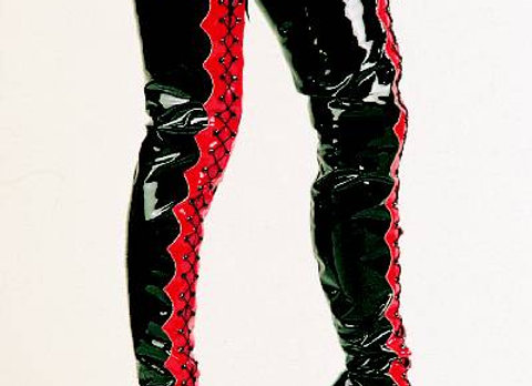 Patent Two-tone Scallop Thigh-high Boots
