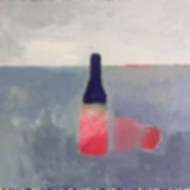Natura morta con bottiglia rossa