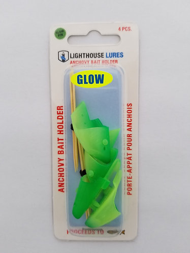 4 Pack Anchovy Bait Holder – Green Chartreuse Glow
