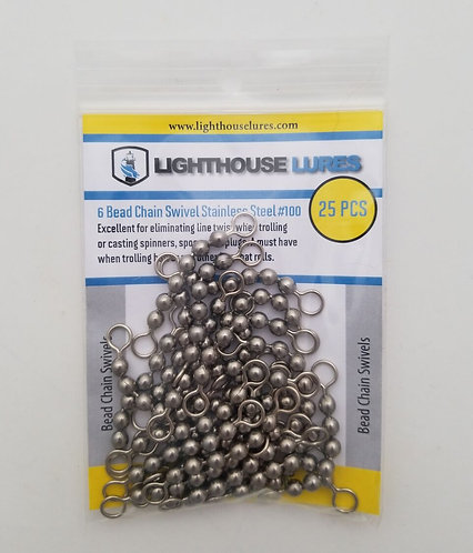Stainless Steel Bead-Chain Swivels 100lb – 25pcs