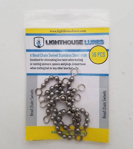 Stainless Steel Bead-Chain Swivels 100lb – 10pcs