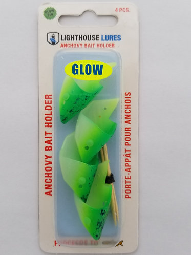4 Pack Anchovy Bait Holder – Green Chartreuse Spatterback Glow