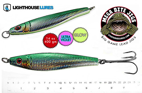 Mega Bite Big Game Deep Drop Herring Jig 14oz & 20oz – Mylar Green