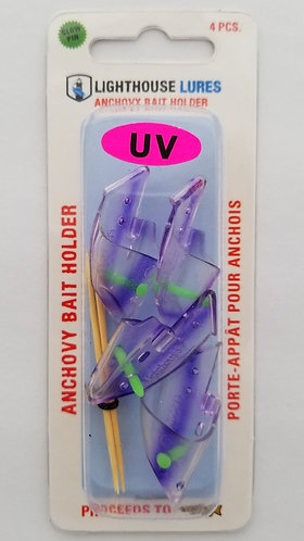 4 Pack Anchovy Bait Holder -UV Clear Purple Stripe