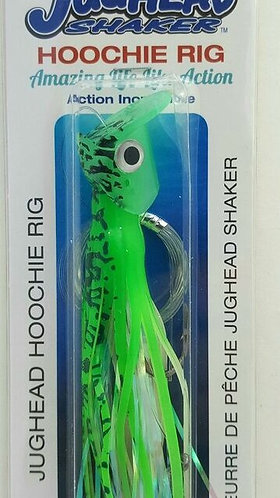 Jughead Shaker Hoochie Rig – Green Spatterback Glow
